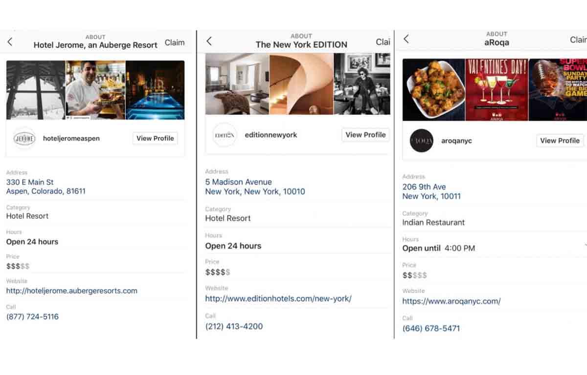 Instagram lanza páginas de perfil de negocios locales